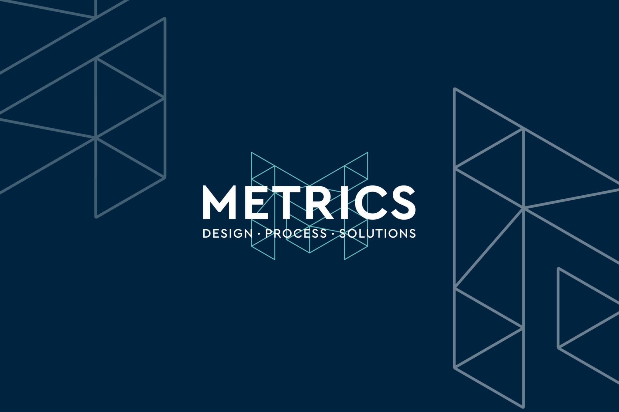 Metrics Design Logo on Blue